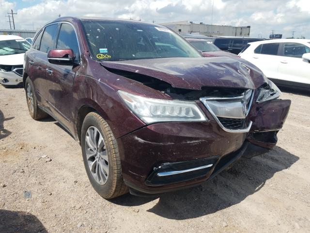Salvage cars for sale from Copart Mercedes, TX: 2016 Acura MDX Techno