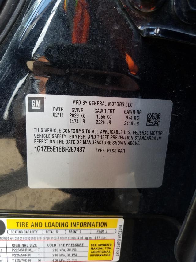 2011 CHEVROLET MALIBU LTZ 1G1ZE5E16BF287487