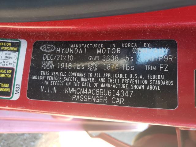 2011 HYUNDAI ACCENT GLS KMHCN4AC8BU614347