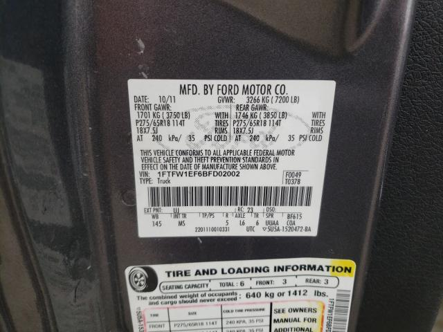 2011 FORD F150 SUPER 1FTFW1EF6BFD02002