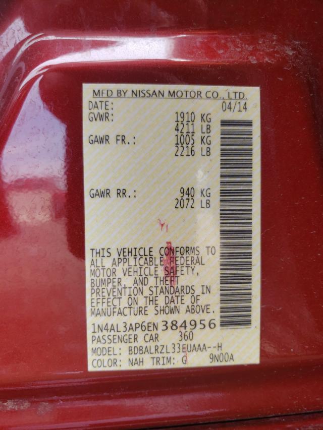 2014 NISSAN ALTIMA 2.5 1N4AL3AP6EN384956