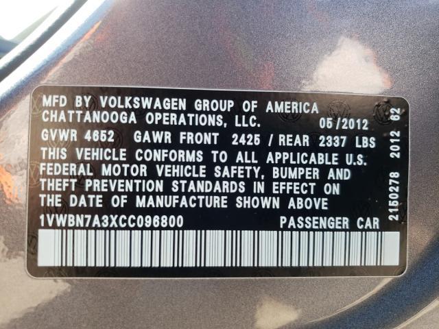 2012 VOLKSWAGEN PASSAT SE 1VWBN7A3XCC096800