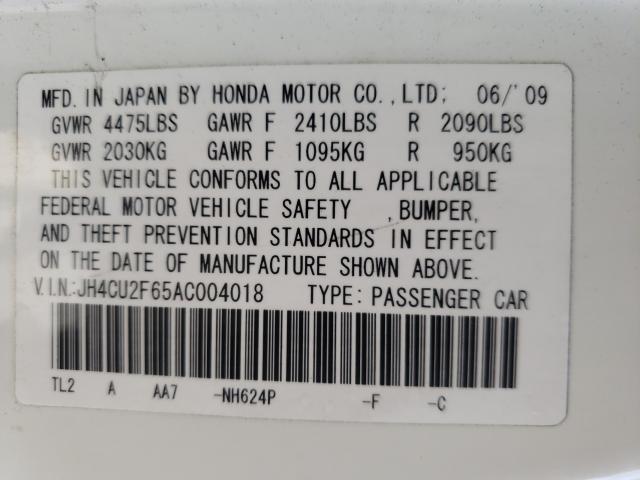 2010 ACURA TSX JH4CU2F65AC004018