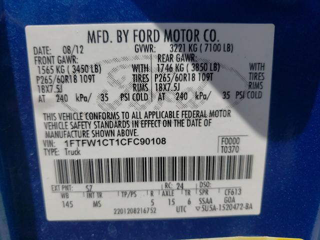 2012 FORD F150 SUPER 1FTFW1CT1CFC90108