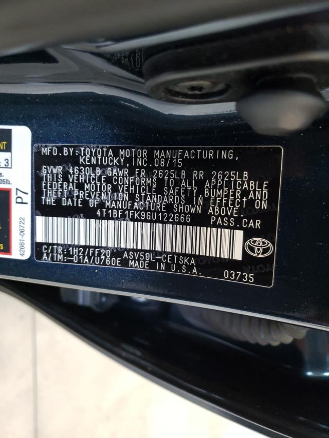 2016 TOYOTA CAMRY LE 4T1BF1FK9GU122666