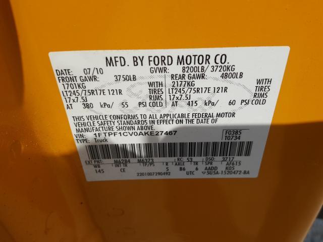 2010 FORD F150 1FTPF1CV0AKE27467