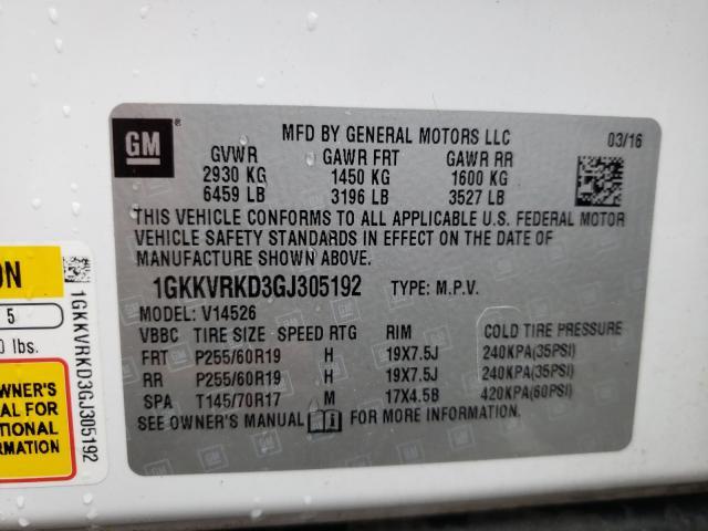 2016 GMC ACADIA SLT 1GKKVRKD3GJ305192