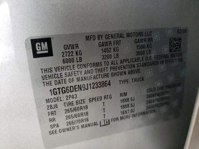 2018 GMC CANYON SLT 1GTG6DEN9J1233864
