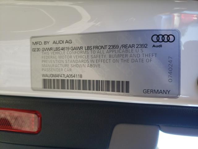 2020 AUDI A4 PREMIUM WAUGMAF47LA054118