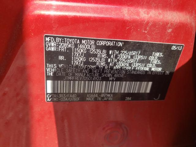2013 TOYOTA RAV4 XLE JTMRFREV7D5014923