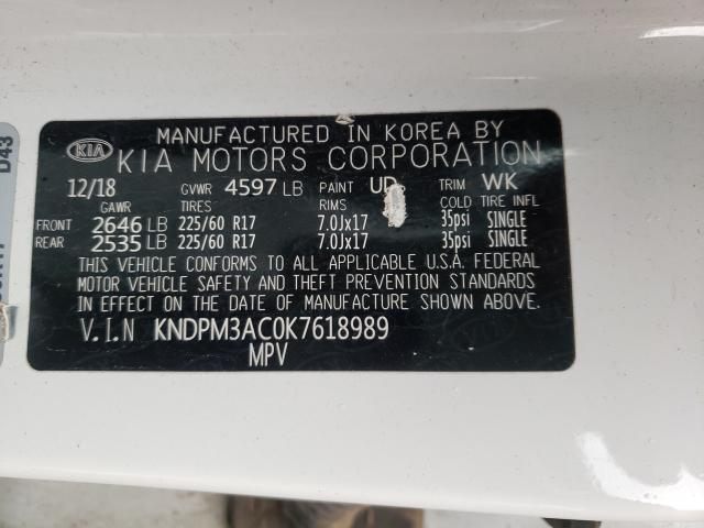 2019 KIA SPORTAGE L KNDPM3AC0K7618989