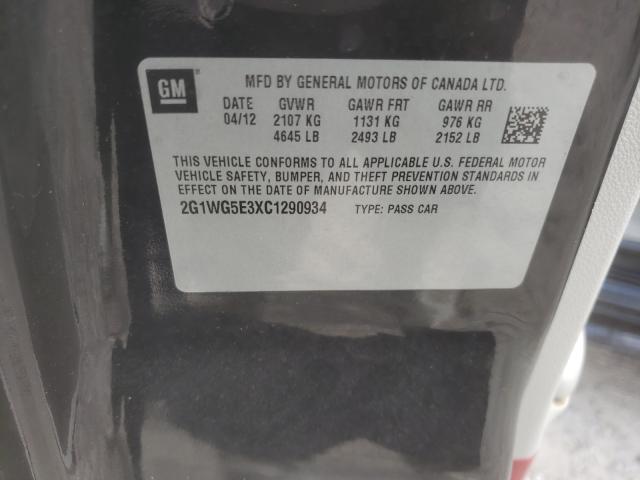 2012 CHEVROLET IMPALA LT 2G1WG5E3XC1290934