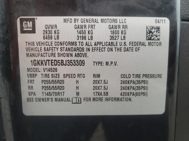 2011 GMC ACADIA DEN 1GKKVTED5BJ353309