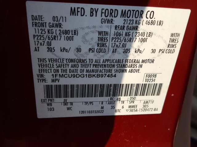 2011 FORD ESCAPE XLT 1FMCU9DG1BKB97454