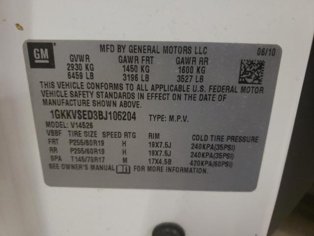 2011 GMC ACADIA SLT 1GKKVSED3BJ106204