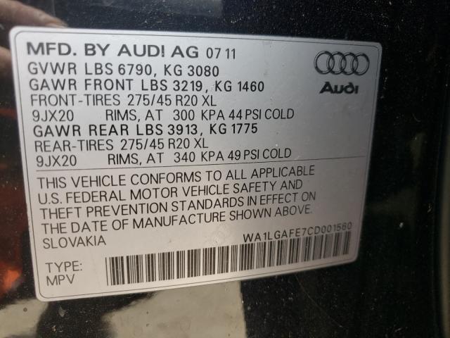 2012 AUDI Q7 PREMIUM WA1LGAFE7CD001560
