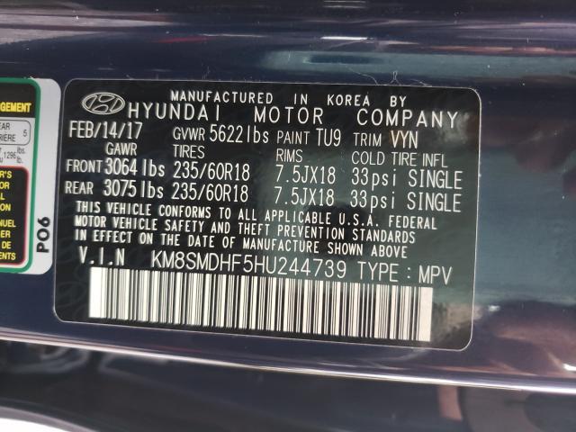 2017 HYUNDAI SANTA FE S KM8SMDHF5HU244739