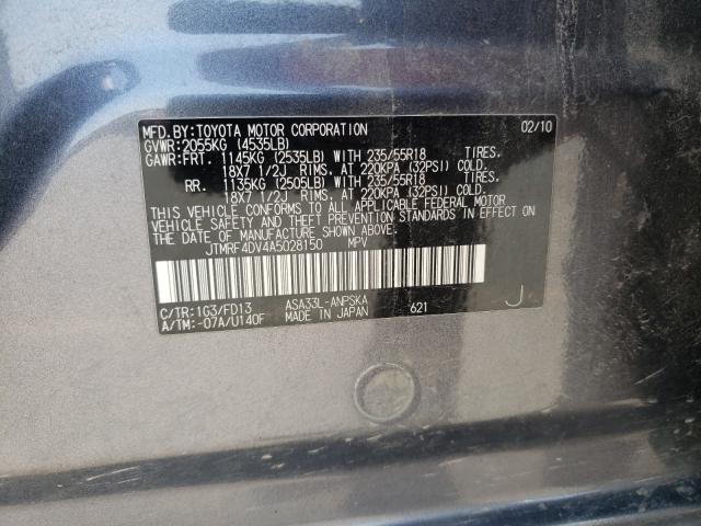 2010 TOYOTA RAV4 SPORT JTMRF4DV4A5028150
