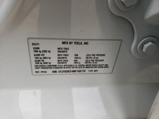 2021 TESLA MODEL Y 5YJYGDEE4MF188779