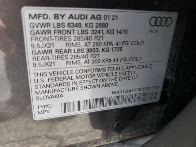 2021 AUDI Q7 PREMIUM WA1LXAF77MD027739