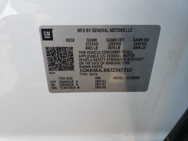 2018 GMC ACADIA SLT 1GKKNULS9JZ247212