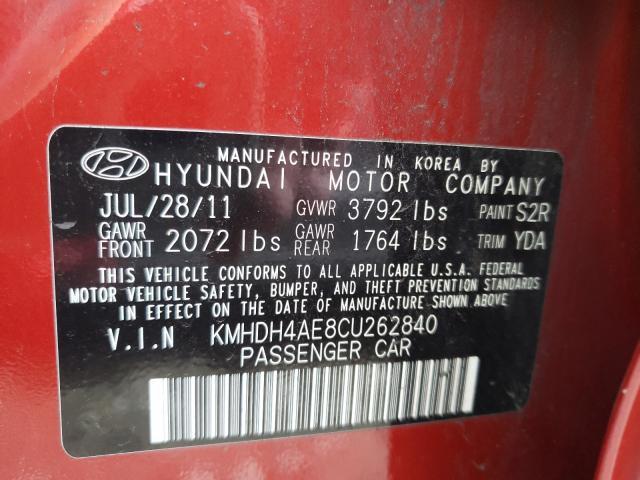 2012 HYUNDAI ELANTRA GL KMHDH4AE8CU262840