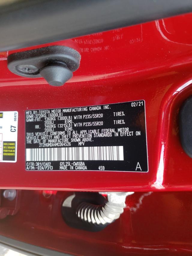 2021 LEXUS RX 450H 2T2HGMDA4MC064526