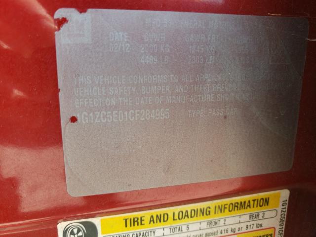 2012 CHEVROLET MALIBU 1LT 1G1ZC5E01CF284995