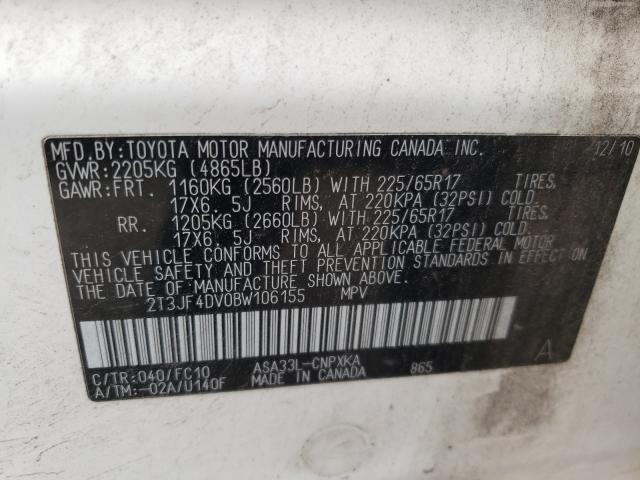 2011 TOYOTA RAV4 2T3JF4DV0BW106155