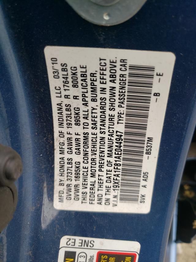 2010 HONDA CIVIC EX 19XFA1F81AE044947