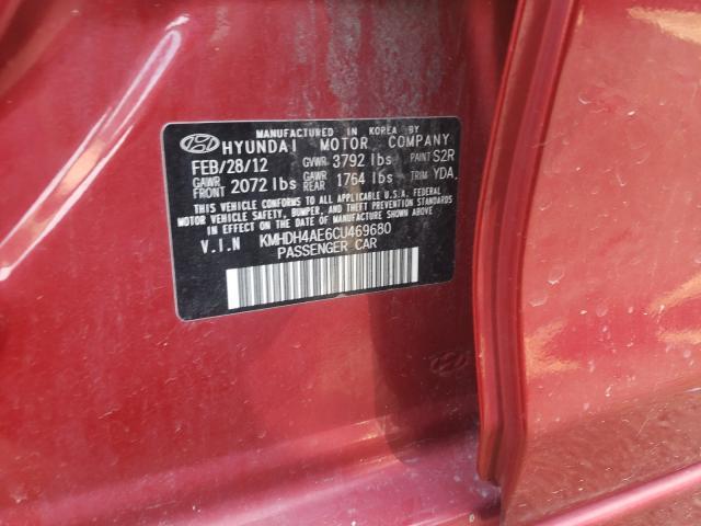 2012 HYUNDAI ELANTRA GL KMHDH4AE6CU469680