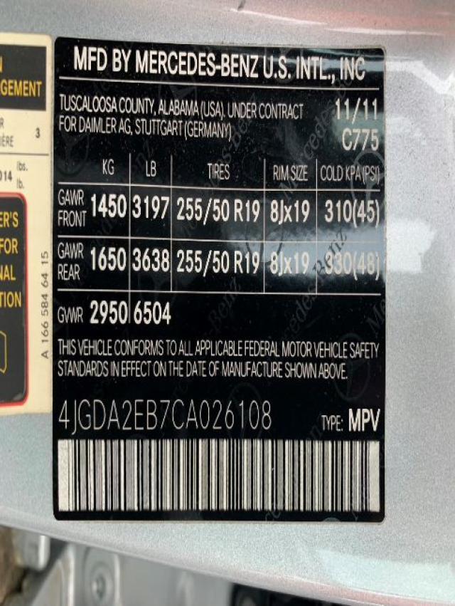 2012 MERCEDES-BENZ ML 350 BLU 4JGDA2EB7CA026108