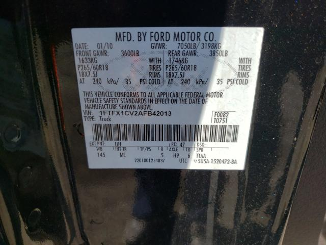 2010 FORD F150 SUPER 1FTFX1CV2AFB42013