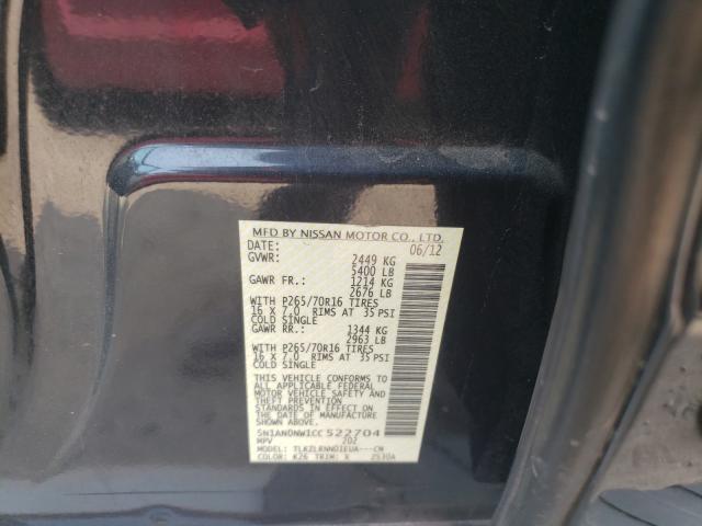 2012 NISSAN XTERRA OFF 5N1AN0NW1CC522704