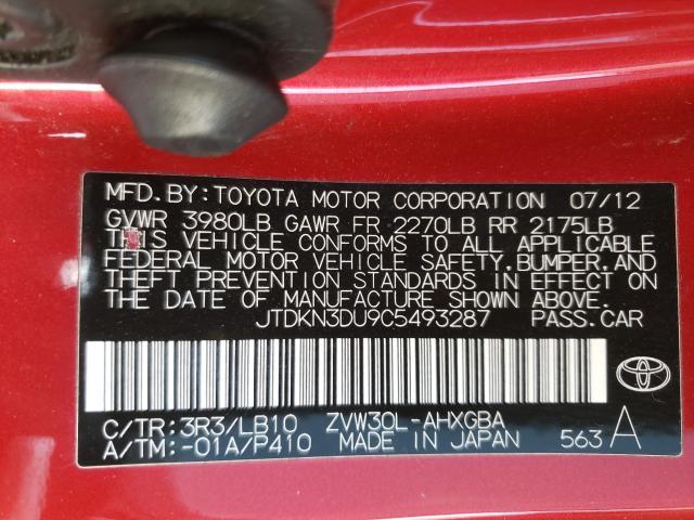 2012 TOYOTA PRIUS JTDKN3DU9C5493287