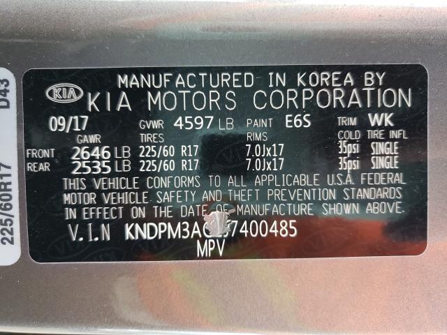 2018 KIA SPORTAGE L KNDPM3AC2J7400485