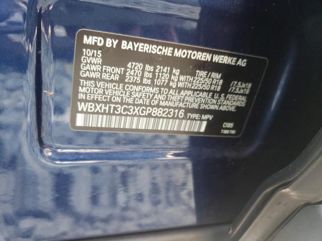 2016 BMW X1 XDRIVE2 WBXHT3C3XGP882316