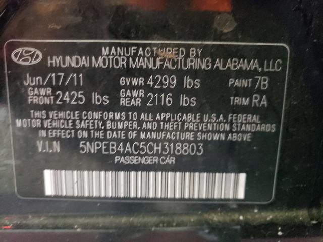 2012 HYUNDAI SONATA GLS 5NPEB4AC5CH318803
