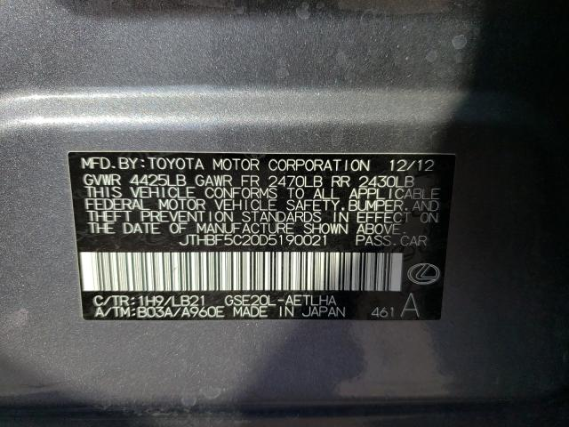 2013 LEXUS IS 250 JTHBF5C20D5190021