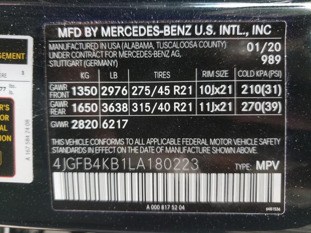 2020 MERCEDES-BENZ GLE 350 4M 4JGFB4KB1LA180223