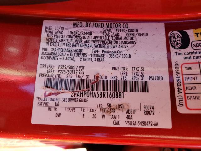 2011 FORD FUSION SE 3FAHP0HA5BR160881