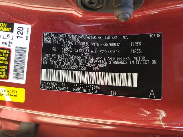 5TDYZ3DC6KS980350