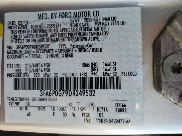 2013 FORD FUSION S 3FA6P0G79DR249532