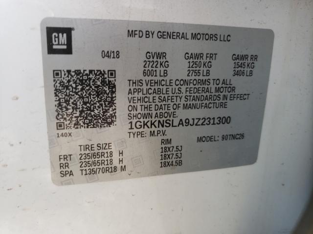 2018 GMC ACADIA SLE 1GKKNSLA9JZ231300