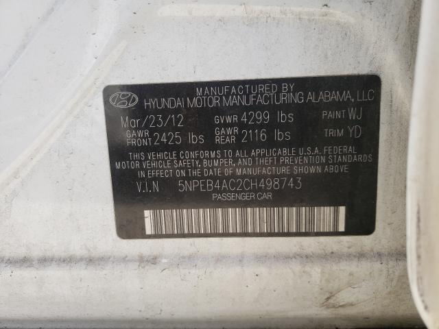 2012 HYUNDAI SONATA GLS 5NPEB4AC2CH498743