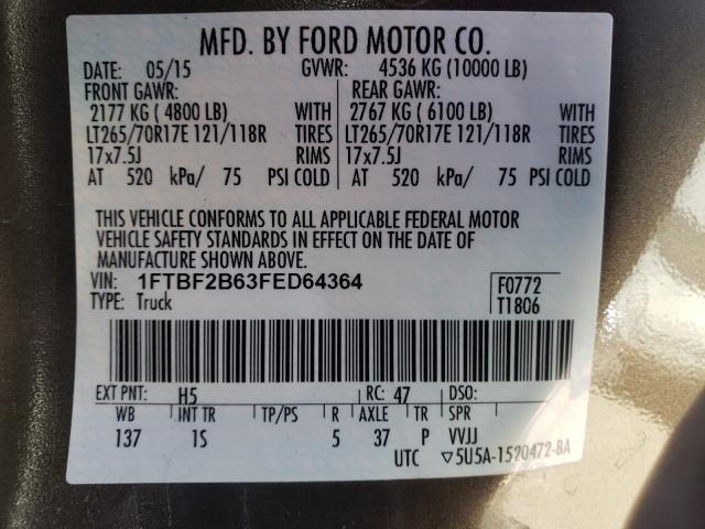 2015 FORD F250 SUPER 1FTBF2B63FED64364
