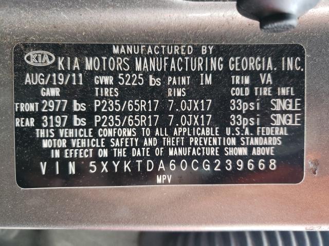 2012 KIA SORENTO BA 5XYKTDA60CG239668