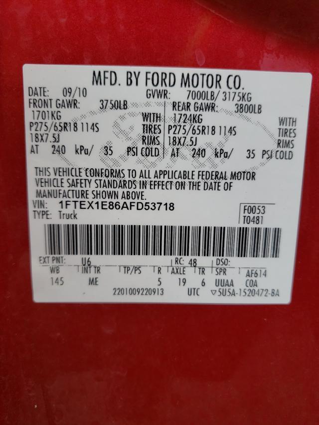 2010 FORD F150 SUPER 1FTEX1E86AFD53718