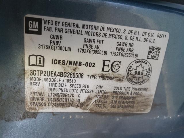 2011 GMC SIERRA K15 3GTP2UEA4BG266508
